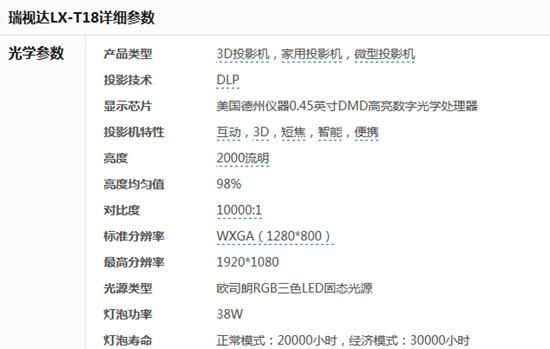 无屏电视时代 瑞视达T18智能投影机报价4599元