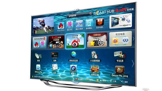 智能电视内置了智能的操作系统(如安卓系统),可以将电视与网络连接,为