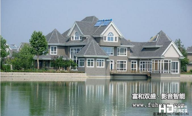 【北京】碧水庄园别墅客厅家庭影院设计装修案